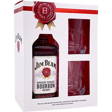Jim Beam Bourbon Whiskey Gift Set with 2 Rock Glasses