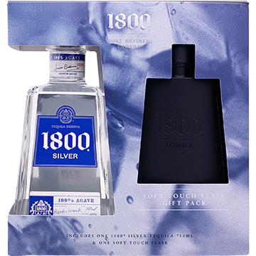 1800 Silver Tequila Gift Set with Flask