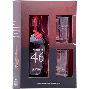 Maker's Mark 46 Bourbon Whiskey Gift Set with 2 Rock Glasses
