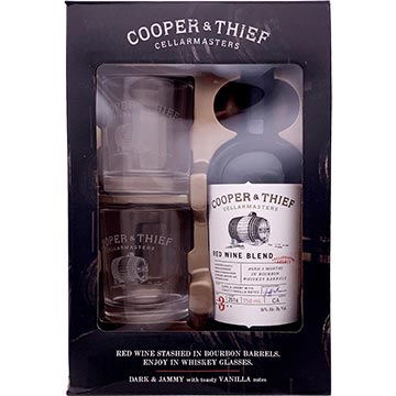 Cooper & Thief Bourbon Barrel Aged Red Blend 2016 Gift Set with 2 Bourbon Glasses