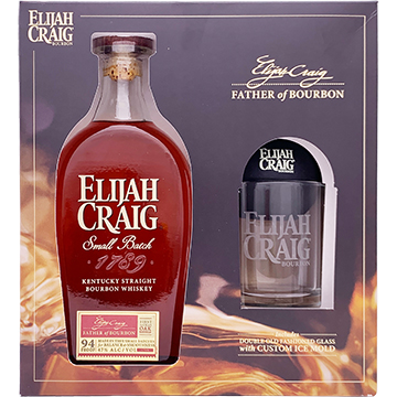 Elijah Craig Small Batch Bourbon Whiskey Gift Set with Glass and Ice Mold
