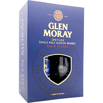 Glen Moray Elgin Classic Speyside Single Malt Scotch Whiskey Gift Set with 2 Glasses