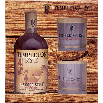 Templeton 4 Year Old Rye Whiskey Gift Set with 2 Rock Glasses