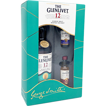 The Glenlivet 12 Year Old Single Malt Scotch Whiskey Gift Set with Two 50ml Miniature