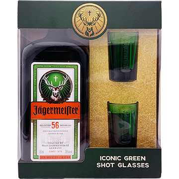 Jagermeister with 2 Green Shot Glasses