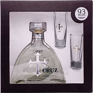 Cruz Silver Tequila Gift Pack with 2 Shot Glasses