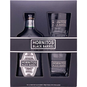 Sauza Hornitos Black Barrel Tequila Gift Pack with 2 Glasses