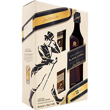 Johnnie Walker Black Label 12 Year Old Blended Scotch Whiskey Gift Set with Two 50ml Miniature