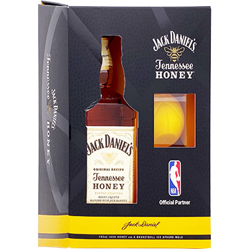Jack Daniel's Tennessee Honey Liqueur Gift Set with Basketball Ice Sphere Mold