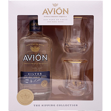 Avion Silver Tequila Gift Set with 2 Glasses