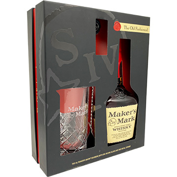 Maker's Mark Bourbon Whiskey Gift Set with Mixing Glass and Metal Stirrer