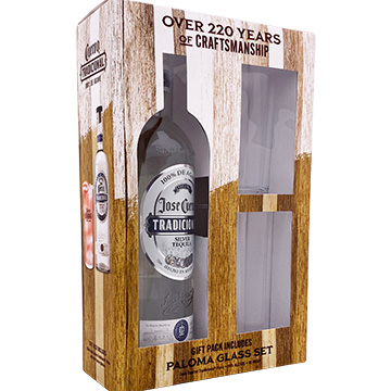 Jose Cuervo Tradicional Silver Tequila Gift Pack with Paloma Glass Set