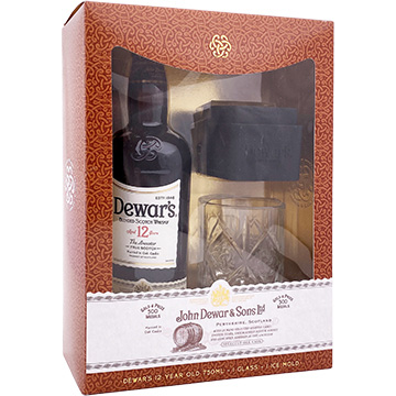 Dewar's 12 Year Old Blended Scotch Whiskey Gift Set with Glass and Ice Mold