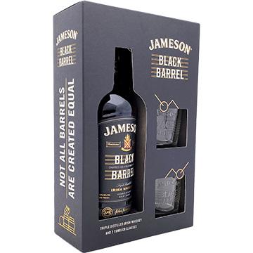 Jameson Black Barrel Whiskey Gift Set with 2 Tumbler Glasses