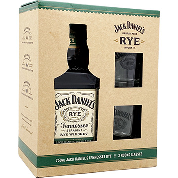 Jack Daniel's Tennessee Rye Whiskey Gift Set with 2 Rocks Glasses