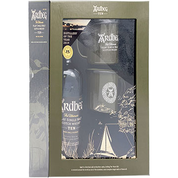 Ardbeg 10 Year Old Islay Single Malt Scotch Whiskey Gift Set with 2 Campfire Mugs