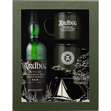 Ardbeg 10 Year Old Islay Single Malt Scotch Whiskey Gift Set with 2 Campfire Mugs
