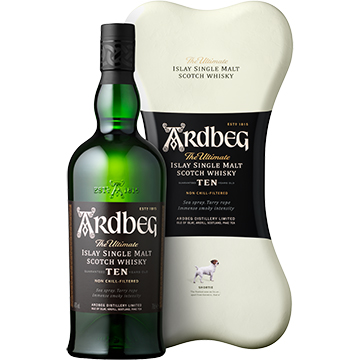 Ardbeg 10 Year Old Islay Single Malt Scotch Whiskey Gift Set with Ardbone Tin Box