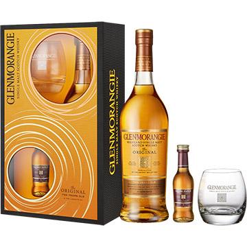 Glenmorangie Original 10 Year Old Single Malt Scotch Whiskey Gift Set with 50ml Miniature & Glass
