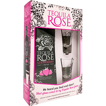 Tequila Rose Strawberry Cream Liqueur Holiday Gift Set with 2 Shot Glasses