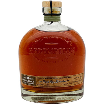 Redemption 10 Year Old Barrel Proof High Rye Bourbon Whiskey