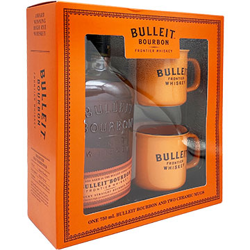 Bulleit Bourbon Whiskey Gift Set with 2 Ceramic Mugs