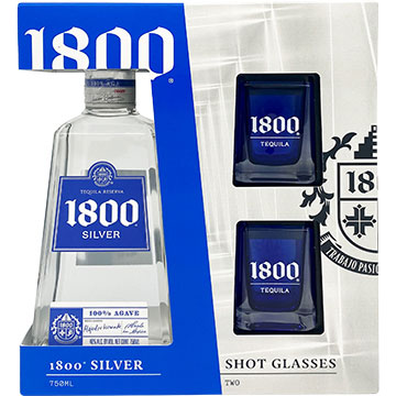 1800 Silver Tequila Gift Set with 2 Shot Glasses