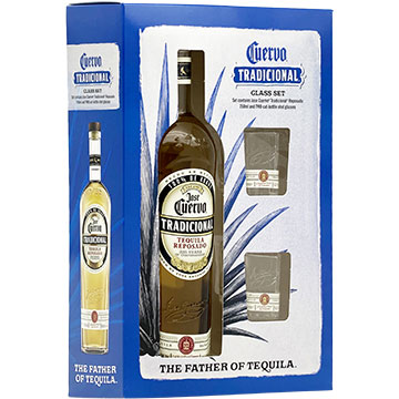 Jose Cuervo Tradicional Reposado Tequila Gift Pack with 2 Cut-Bottle Shot Glasses