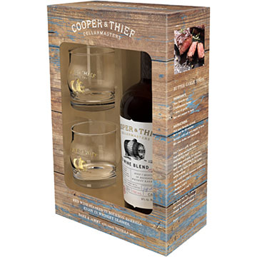 Cooper & Thief Bourbon Barrel Aged Red Blend Gift Set with 2 Whiskey Glasses